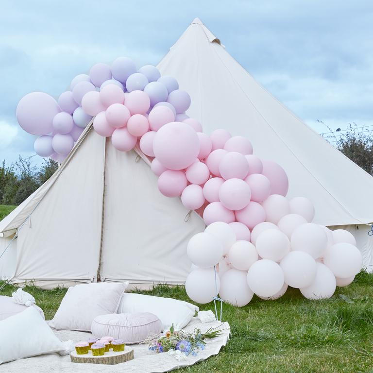 Balónová Brána - Pastelovo Ružová a Orgovánová (200ks)