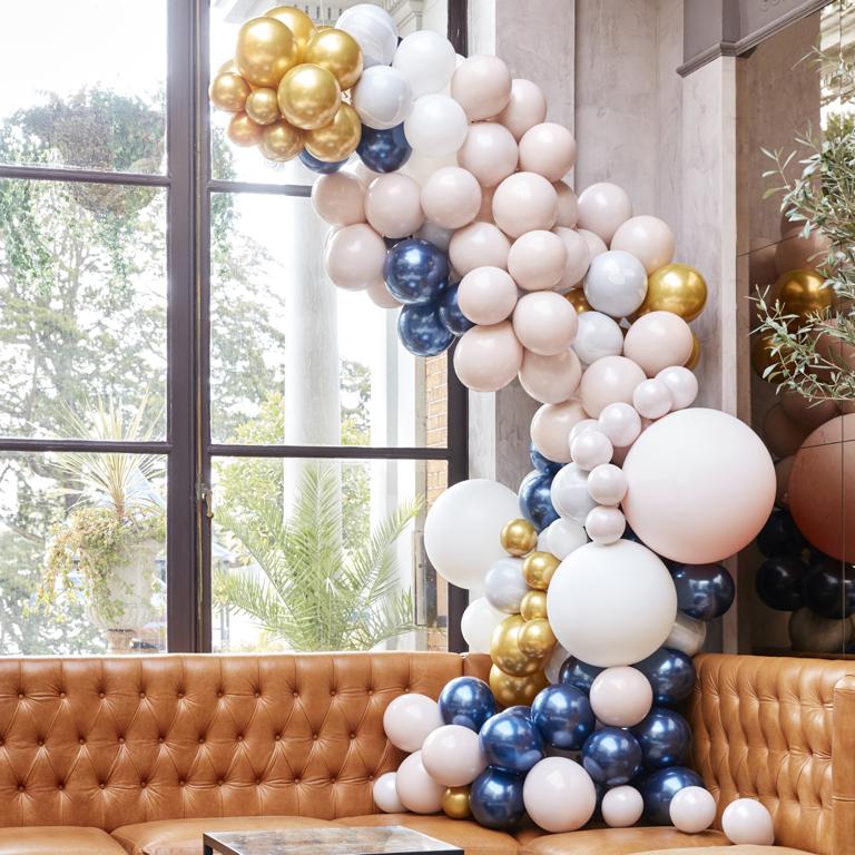 Balónová Brána - Mramor, Navy a Zlatá (200ks)