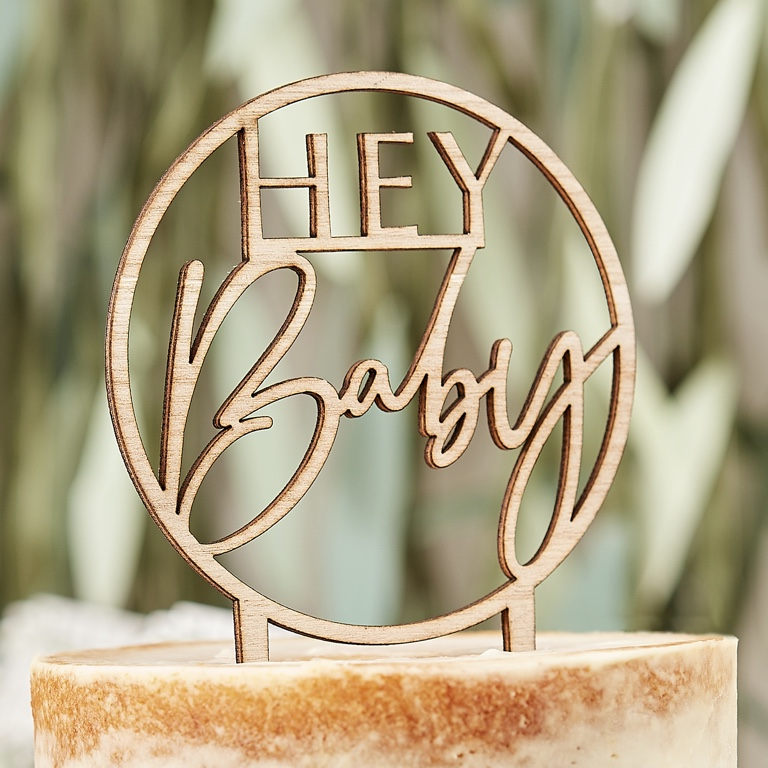 Drevená Ozdoba na Tortu - Hey Baby