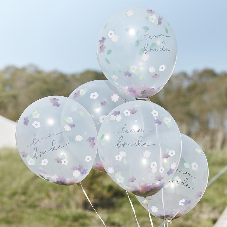 Konfetové Balóny - Kvietky - Team Bride (5ks)