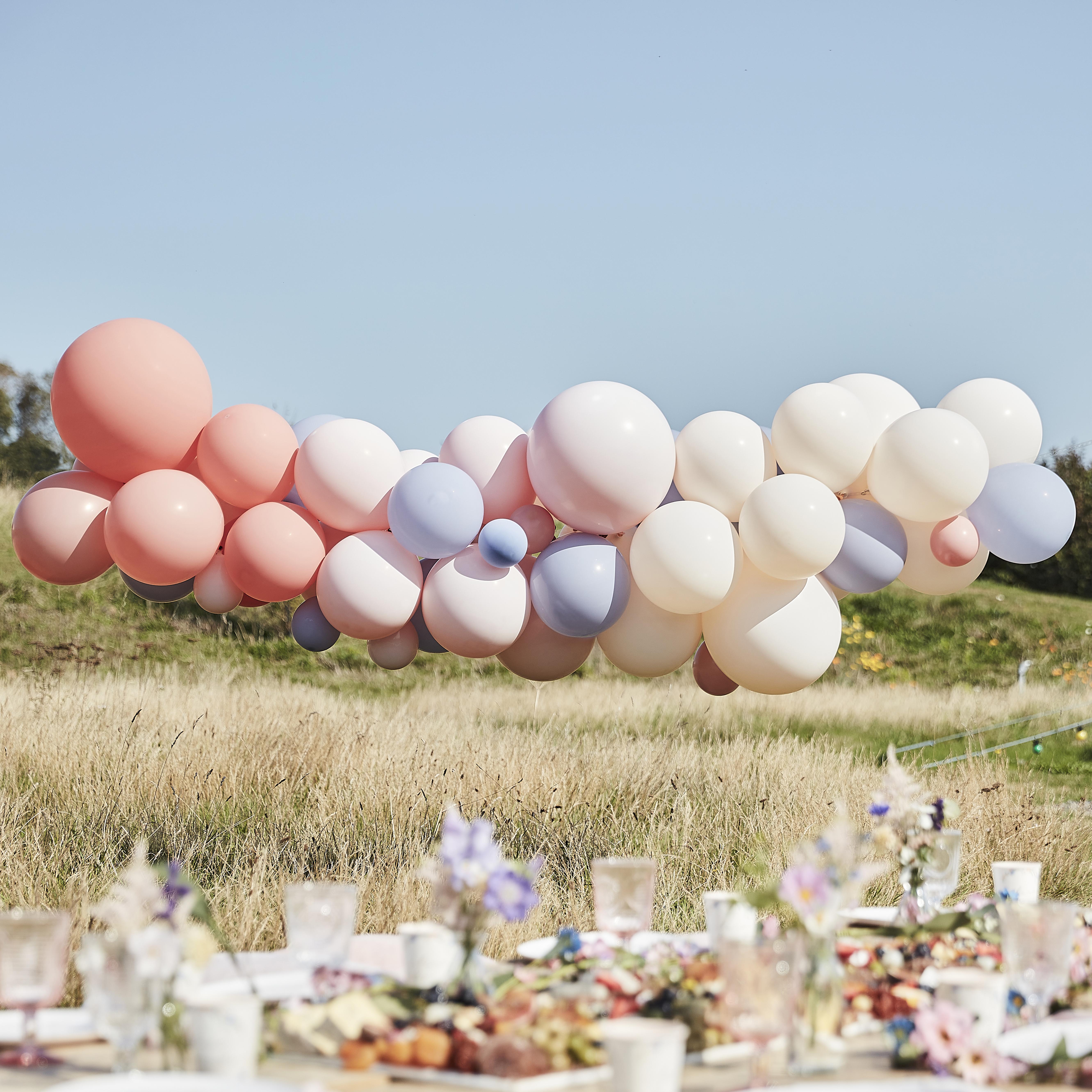 Balónová Brána - Púdrová, Telová a Modrá (60ks)