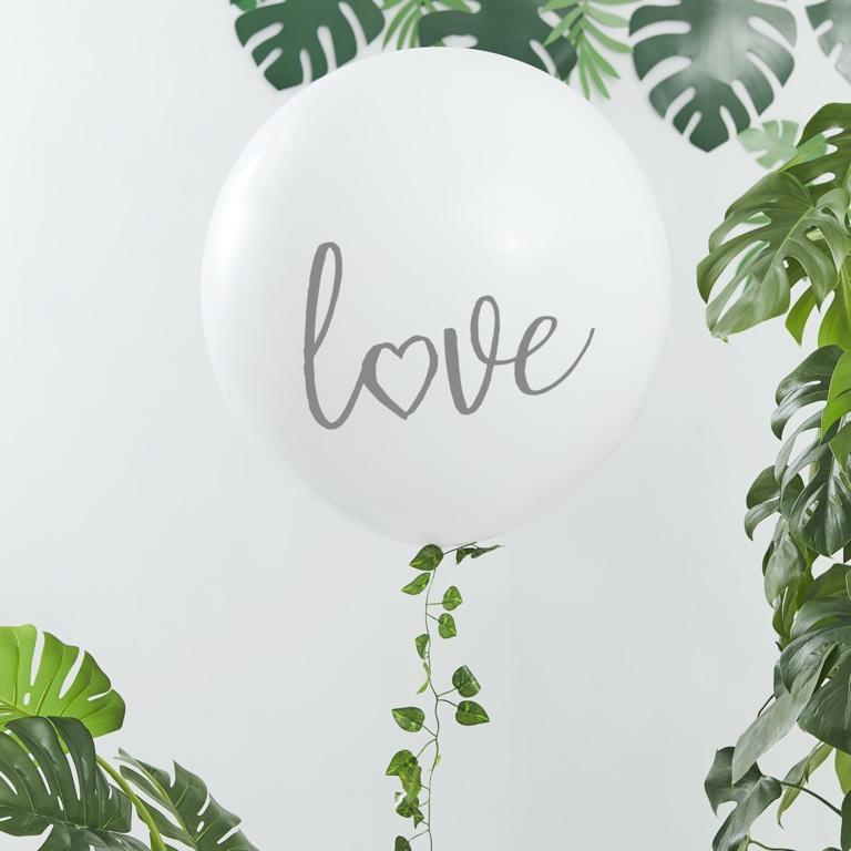 Mega Balón s Listami - Love - Biely (90cm)