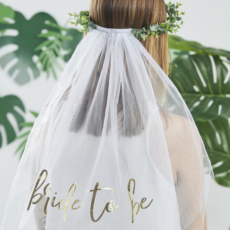 Závoj s Venčekom - Bride to Be - Zelená