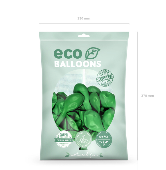 Eko Balóny - Metalická Zelená Tráva - 26 cm (20ks)