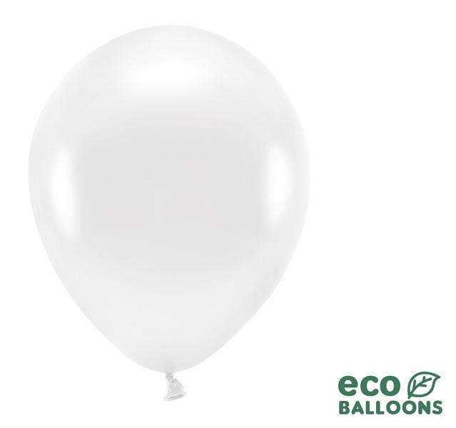 Eko Balóny - Metalická Biela - 30 cm (10ks)