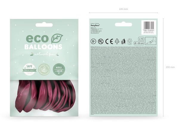 Eko Balóny - Pastel - Tmavo Červená - 30 cm (10ks)
