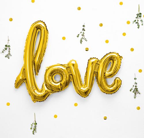 Foliový Balón - Love - Zlatá