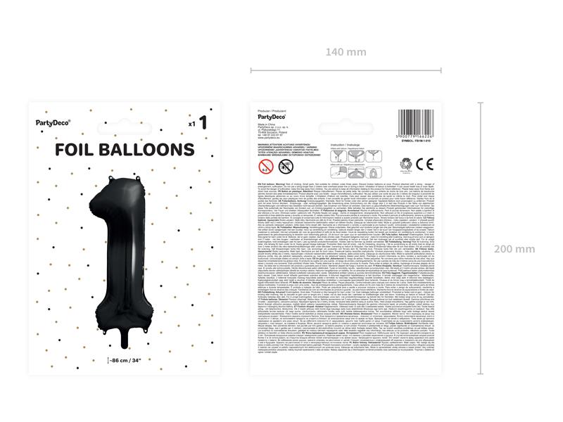 Foliový Balón - 1 - Čierna (86cm)