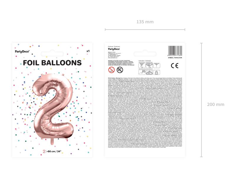 Foliový Balón - 2 - Ružovo Zlatá (86cm)