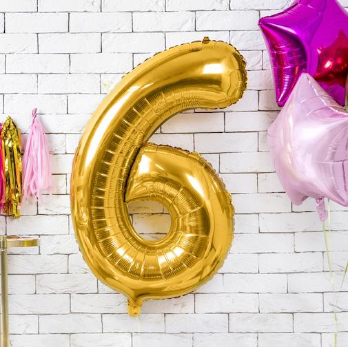 Foliový Balón - 6 - Zlatá (86cm)