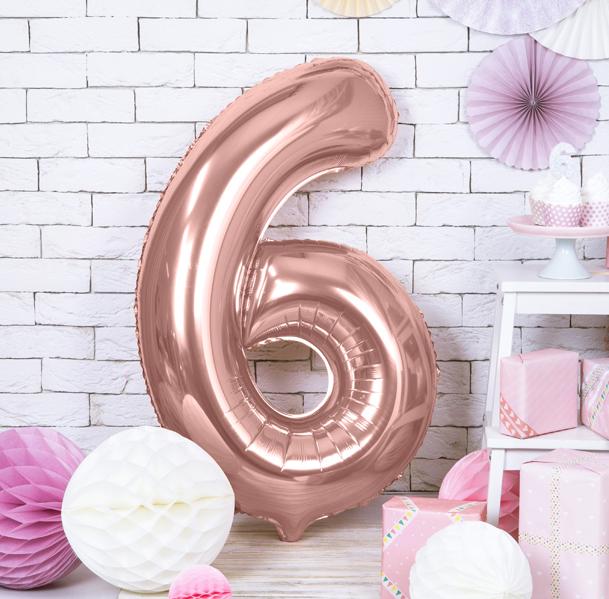 Foliový Balón - 6 - Ružovo Zlatá (86cm)