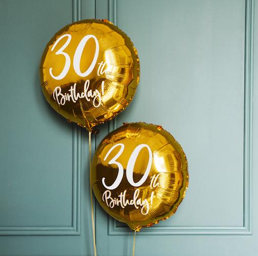 Foliový Balón - 30th - Zlatá (45cm)