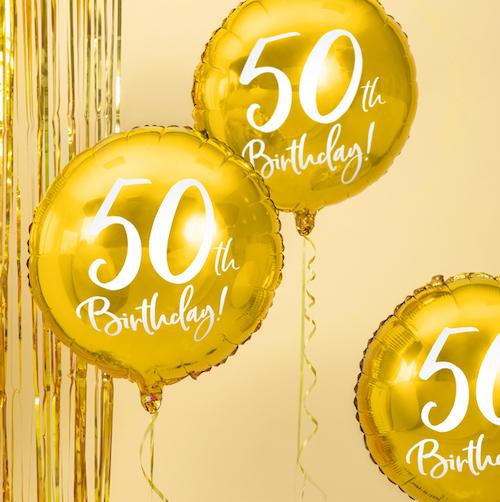 Foliový Balón - 50th - Zlatá (45cm)