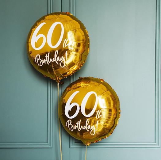 Foliový Balón - 60th - Zlatá (45cm)