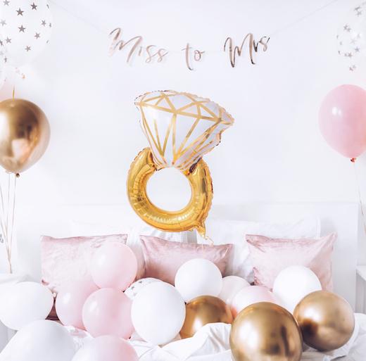 Fóliový balón - Prsteň - Ružová