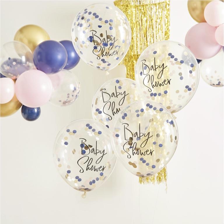 Konfetové Balóny - 30 cm - Modrá & Zlatá (5ks)