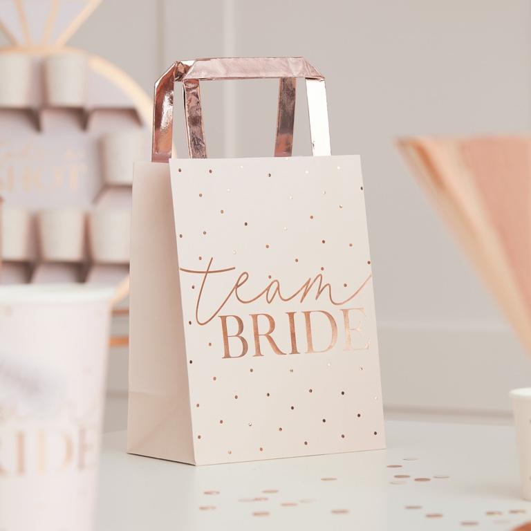 Papierové Tašky s Rúčkou - Team Bride - Púdrovoružová (5ks)