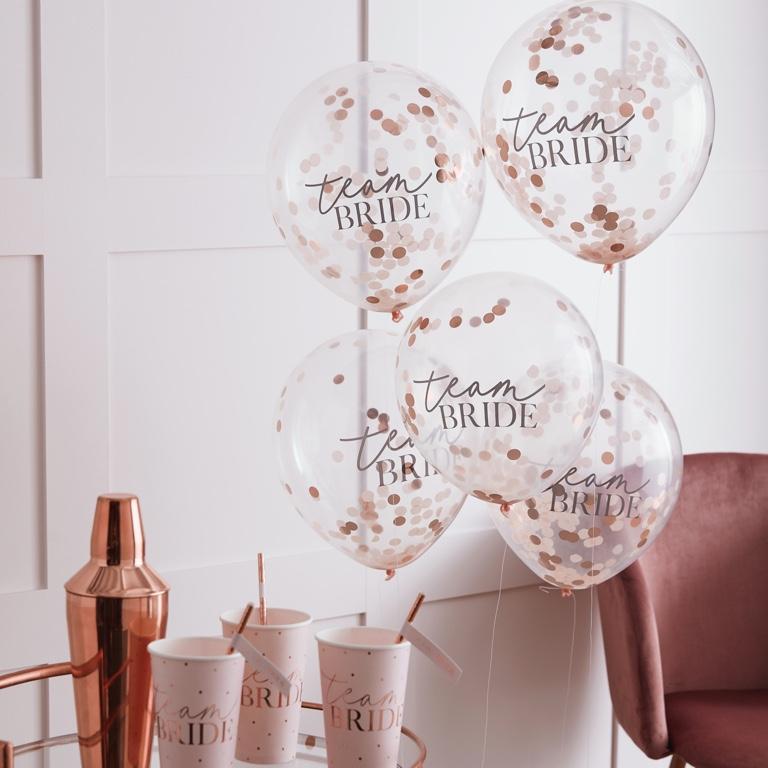 Konfetové Balóny - Púdrovoružová (30cm) - Team Bride (5ks)
