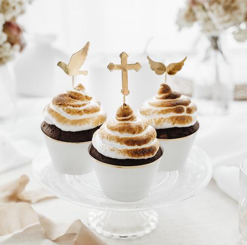 Ozdoby na Muffiny - Prvé Sväté Príjimanie - Zlatá (6ks)