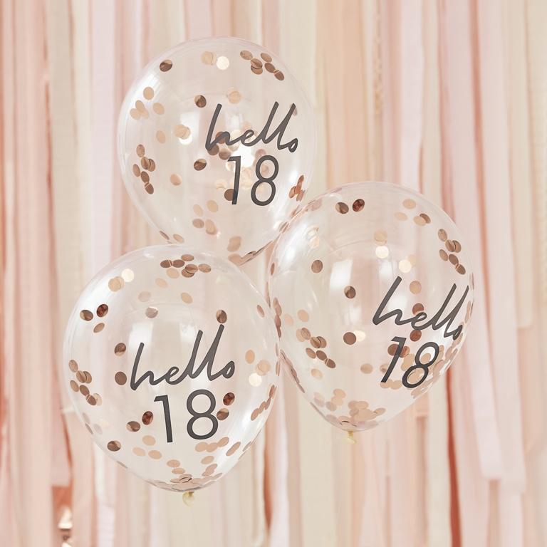 Narodeninové Balóny - Hello 18 - Ružovo Zlatá (5ks)