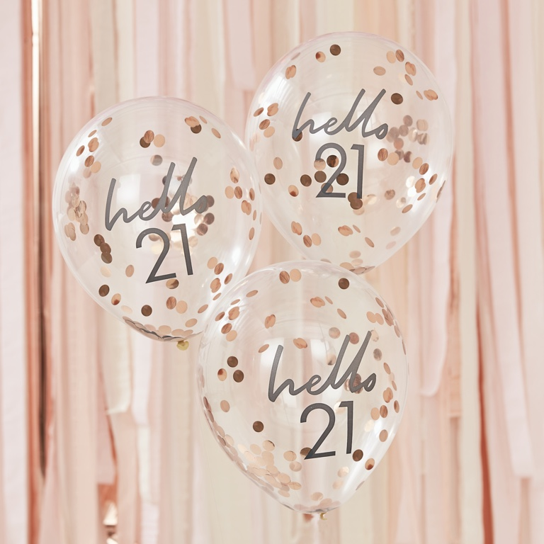 Narodeninové Balóny - Hello 21 - Ružovo Zlatá (5ks)