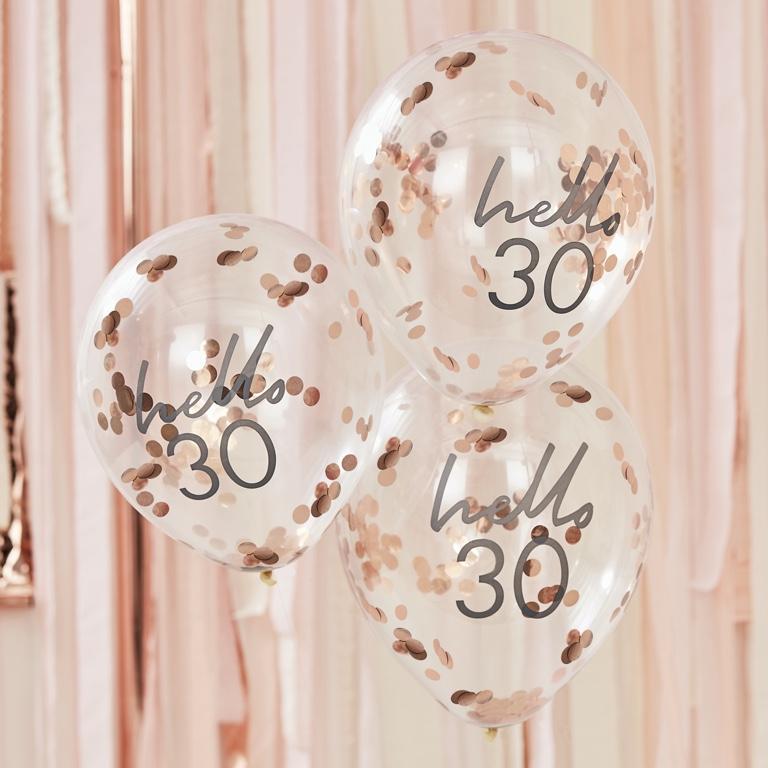 Narodeninové Balóny - Hello 30 - Ružovo Zlatá (5ks)