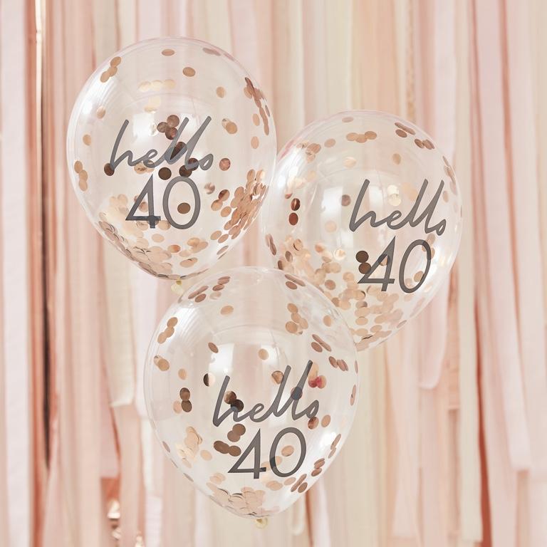 Narodeninové Balóny - Hello 40 - Ružovo Zlatá (5ks)
