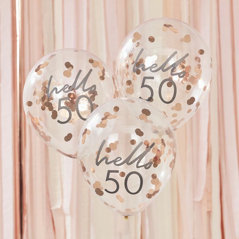 Narodeninové Balóny - Hello 50 - Ružovo Zlatá (5ks)
