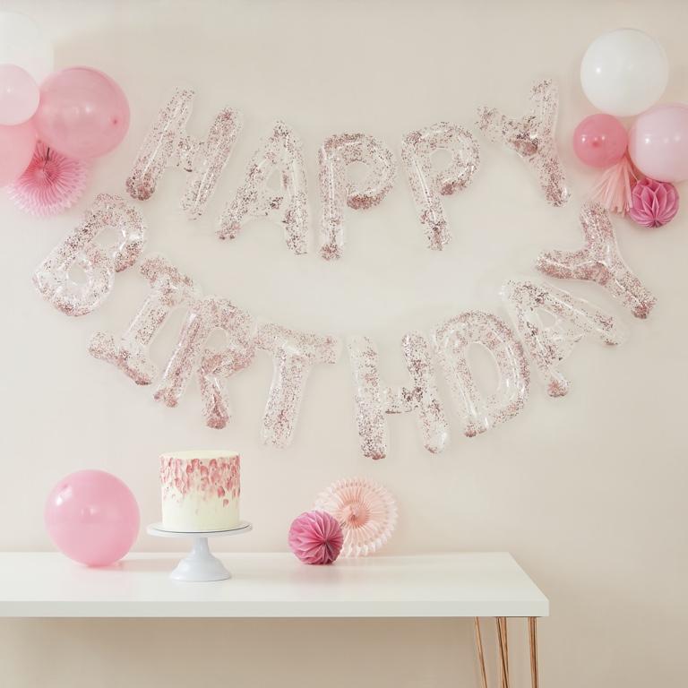 Balónová Konfetová Girlanda - Happy Birthday - Ružová