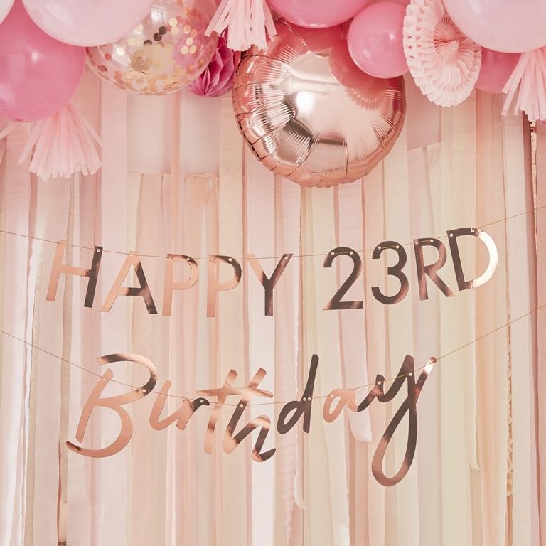 Personalizovateľná Girlanda - Birthday - Ružovo Zlatá