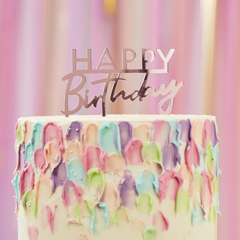 Akrylová Ozdoba na Tortu - Happy Birthday - Ružová