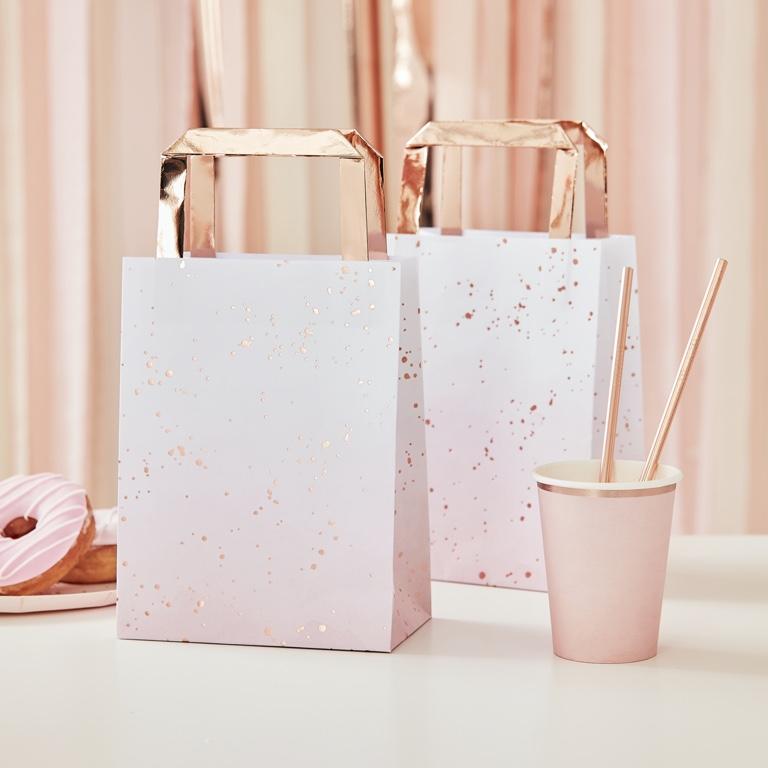 Papierové Tašky - Ombre Ružová (5ks)
