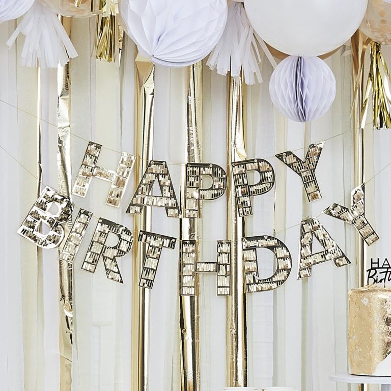 Strapcová Girlanda - Happy Birthday - Zlatá