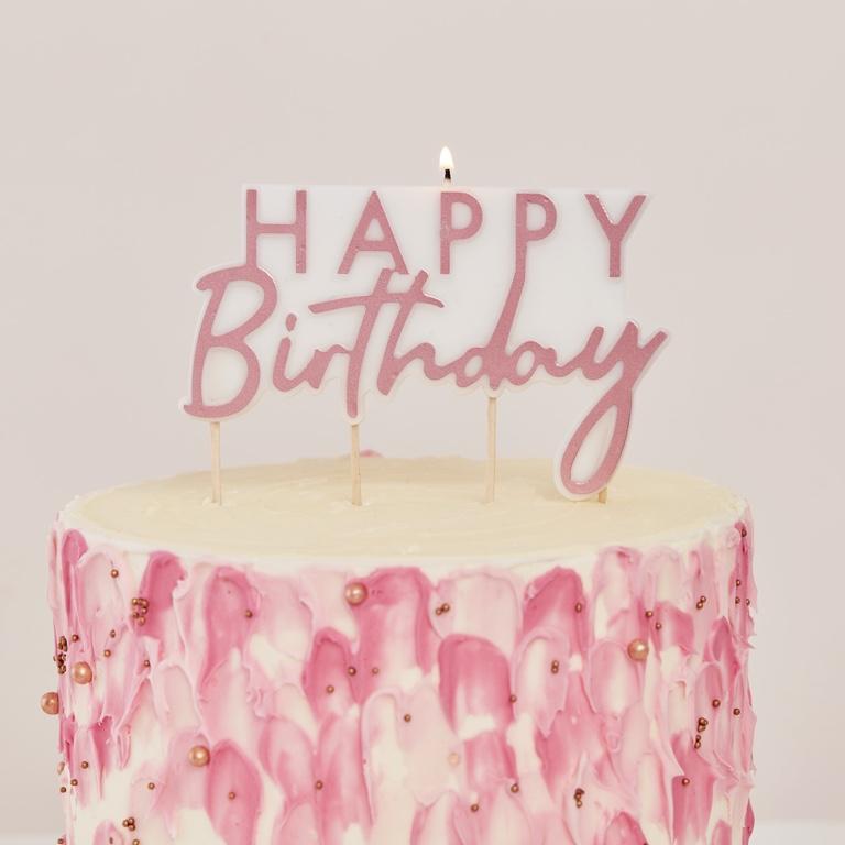 Sviečka na Tortu - Happy Birthday - Ružová Zlatá