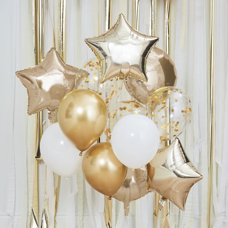 Balónový set - Metalická Zlatá & Biela (12ks)