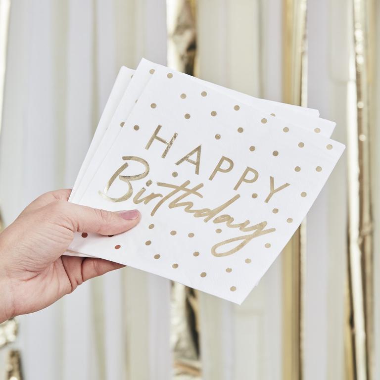 Papierové Servítky - Happy Birthdady - Zlaté Bodky (16ks)