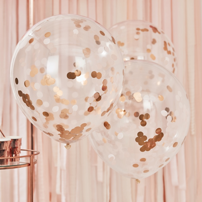 Konfetové Balóny - Veľké - 55 cm - Ružovo Zlatá (3ks)