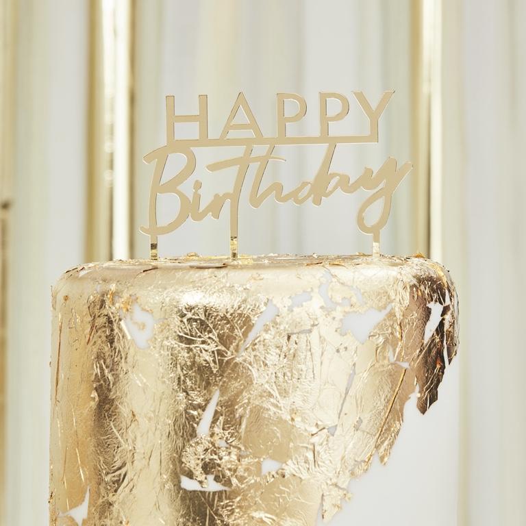Akrylová Ozdoba na Tortu - Happy Birthday - Zlatá