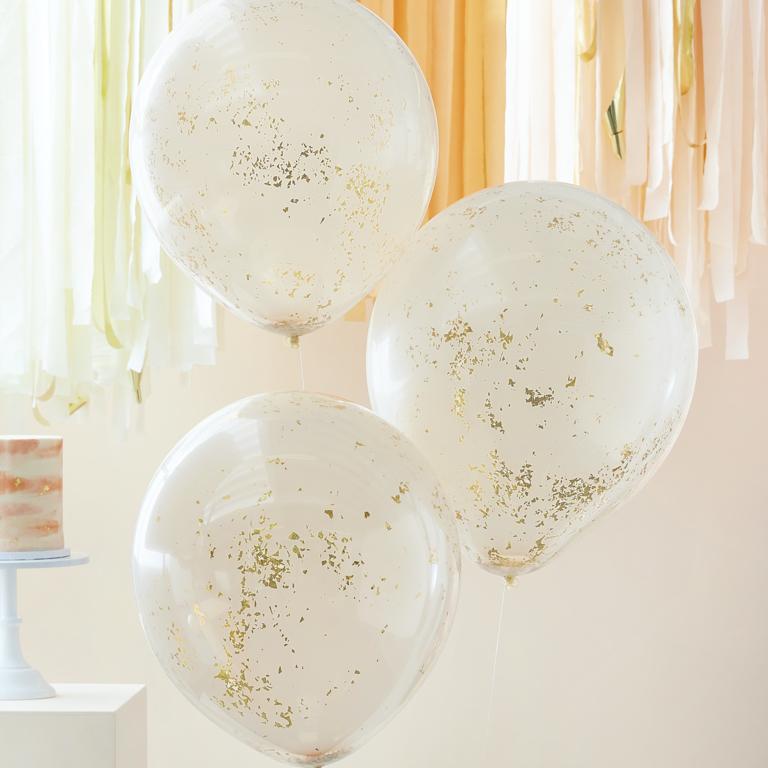 Konfetové Dvojvrstvové Balóny - Broskyňovo Zlatá (3ks)