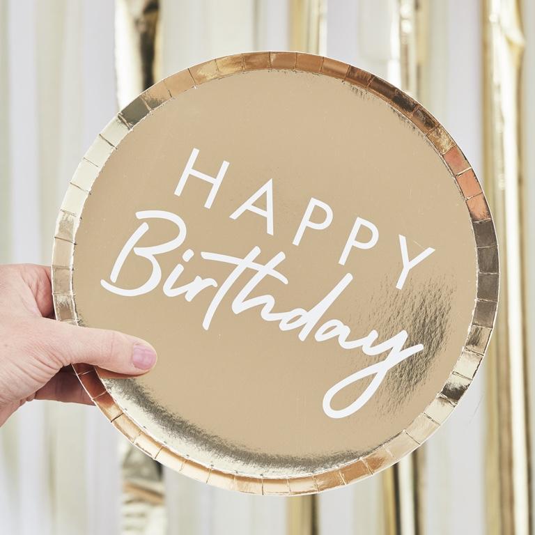 Papierové Taniere - Happy Birthday - Zlatá (8ks)