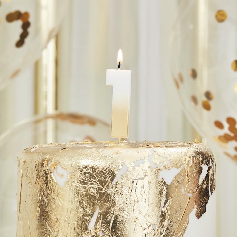 Sviečka na Tortu - 1 - Ombre Zlatá