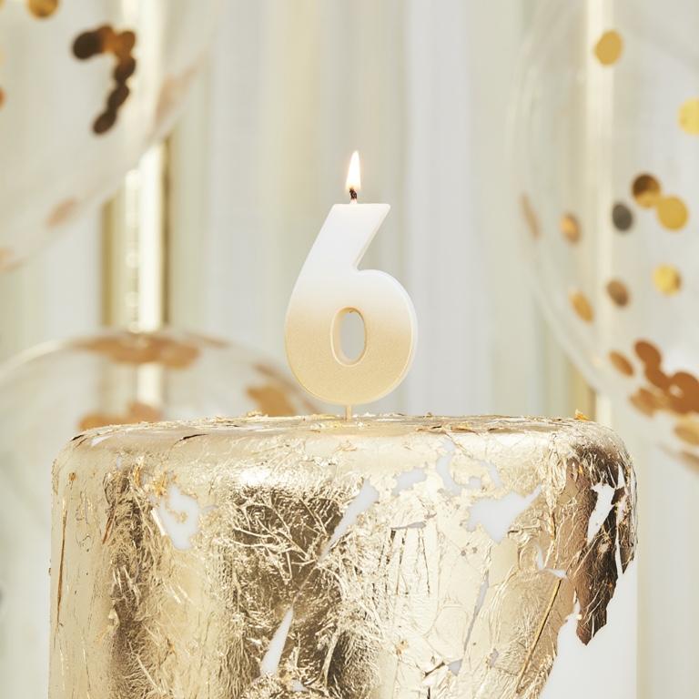 Sviečka na Tortu - 6 - Ombre Zlatá