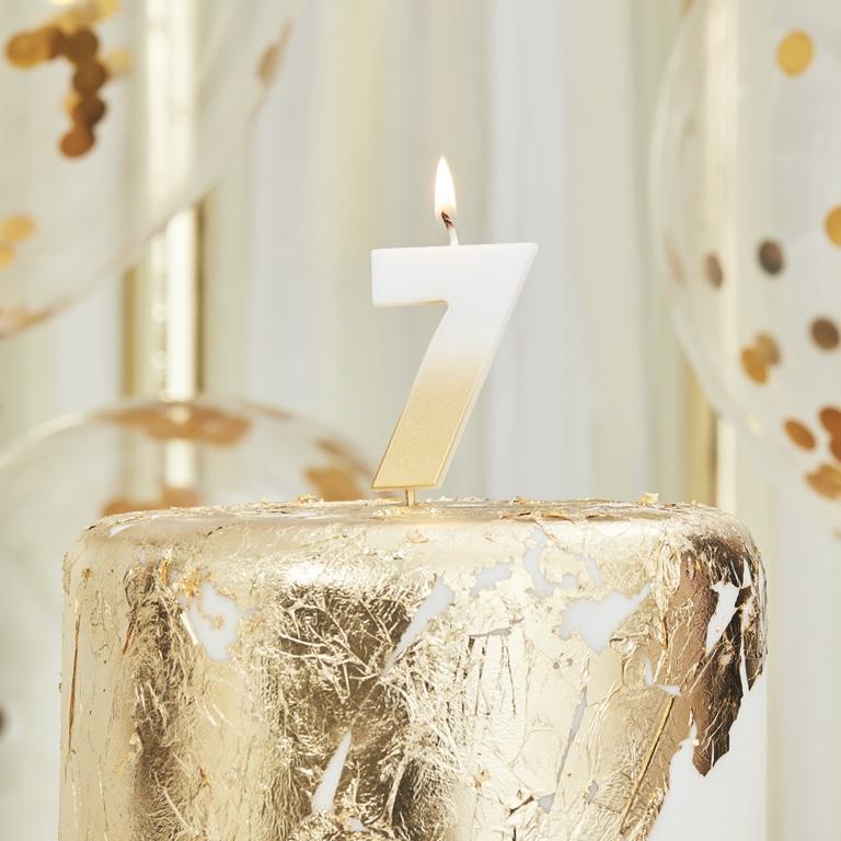 Sviečka na Tortu - 7 - Ombre Zlatá