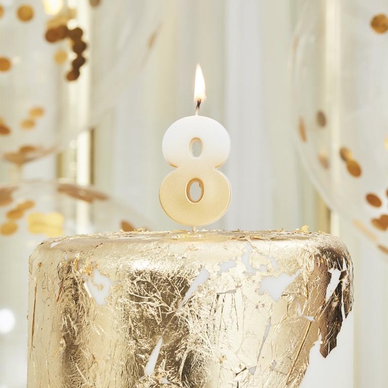 Sviečka na Tortu - 8 - Ombre Zlatá