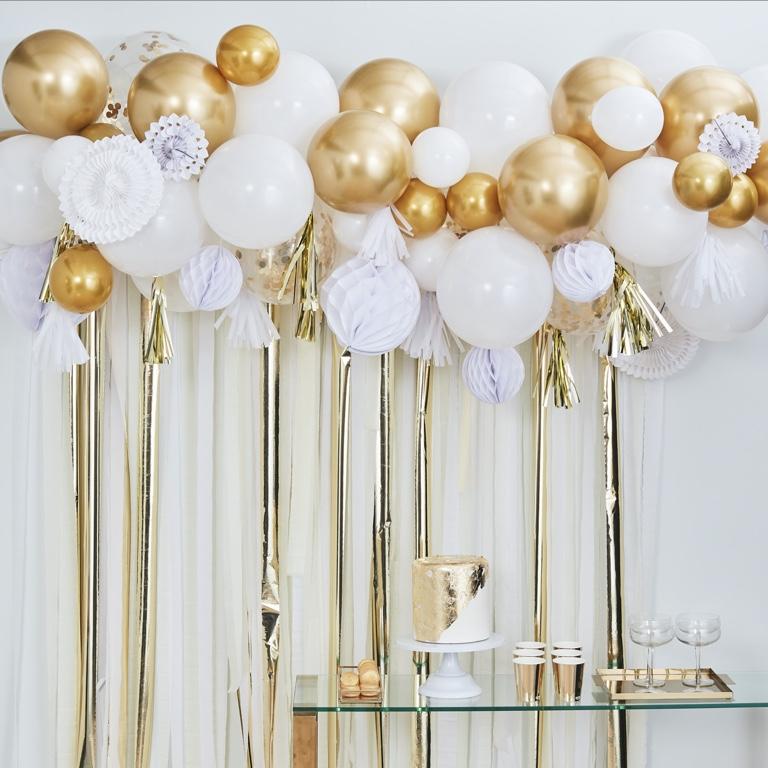 Set - Balóny a Rozety - Biela & Zlatá (98ks)
