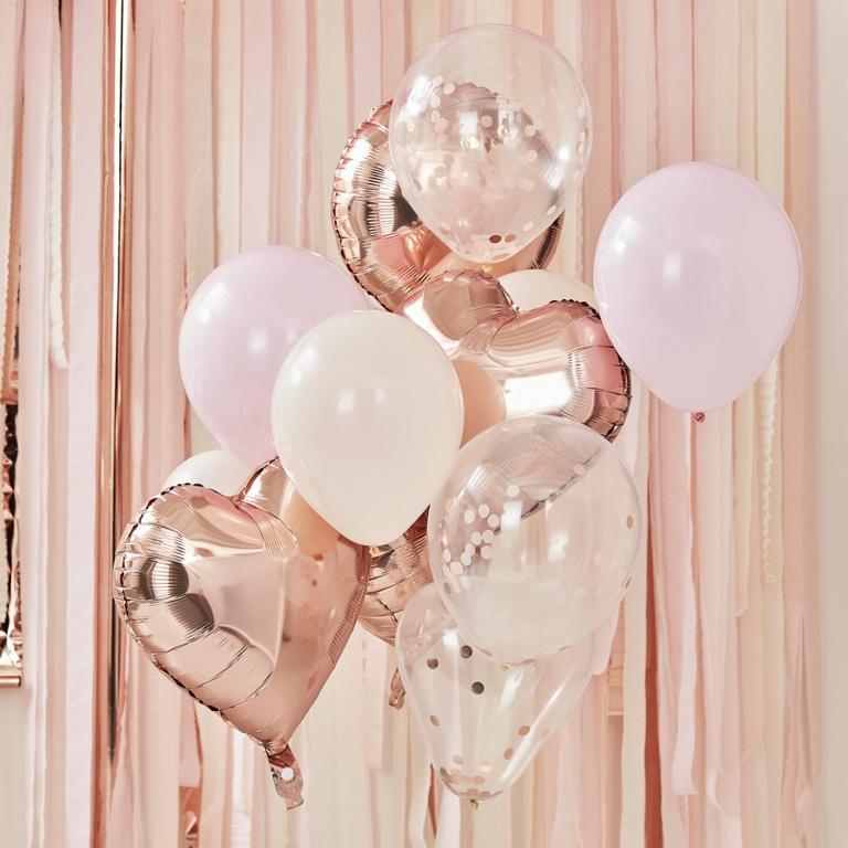 Balónový set - Púdrová & Ružovo Zlatá (12ks)