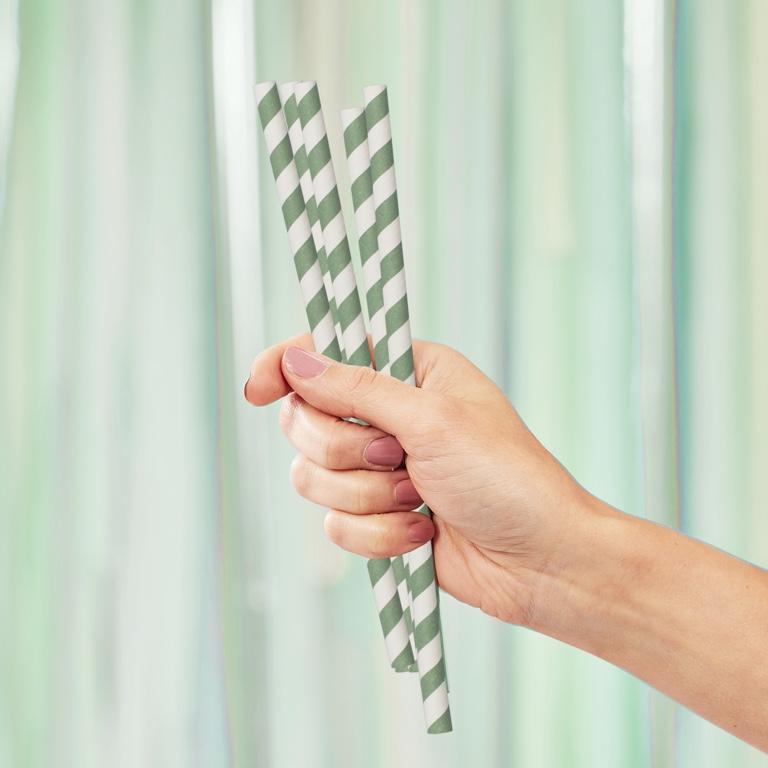 Papierové Slamky - Prúžky - Mätovo Zelená (20ks)
