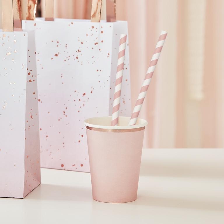 Papierové Slamky - Prúžky - Ružová (20ks)