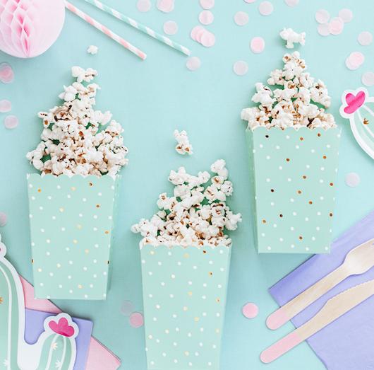 Krabička na Popcorn - Bodky - Zelená (6ks)