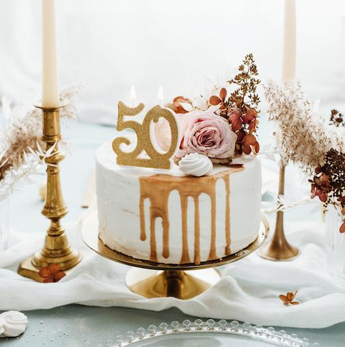 Sviečka na Tortu - 50 - Zlatá